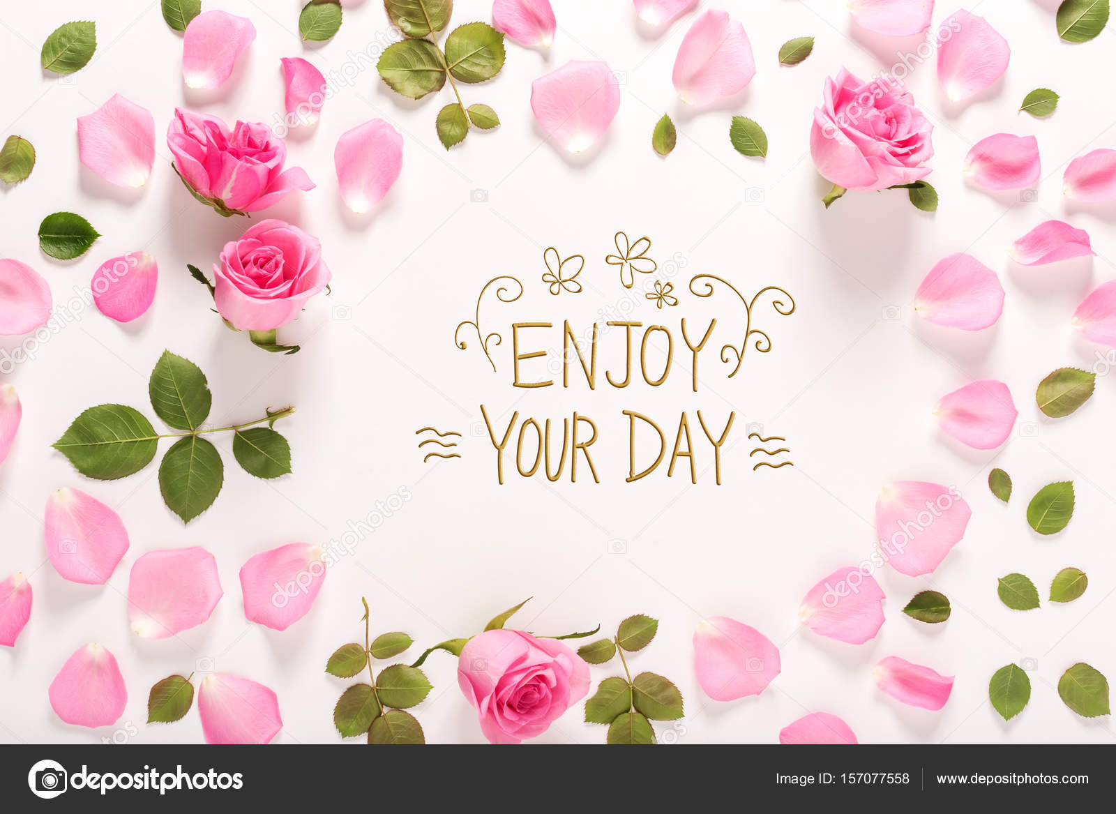 Enjoy Your Day Message With Roses And Leaves U2014 Stock Photo