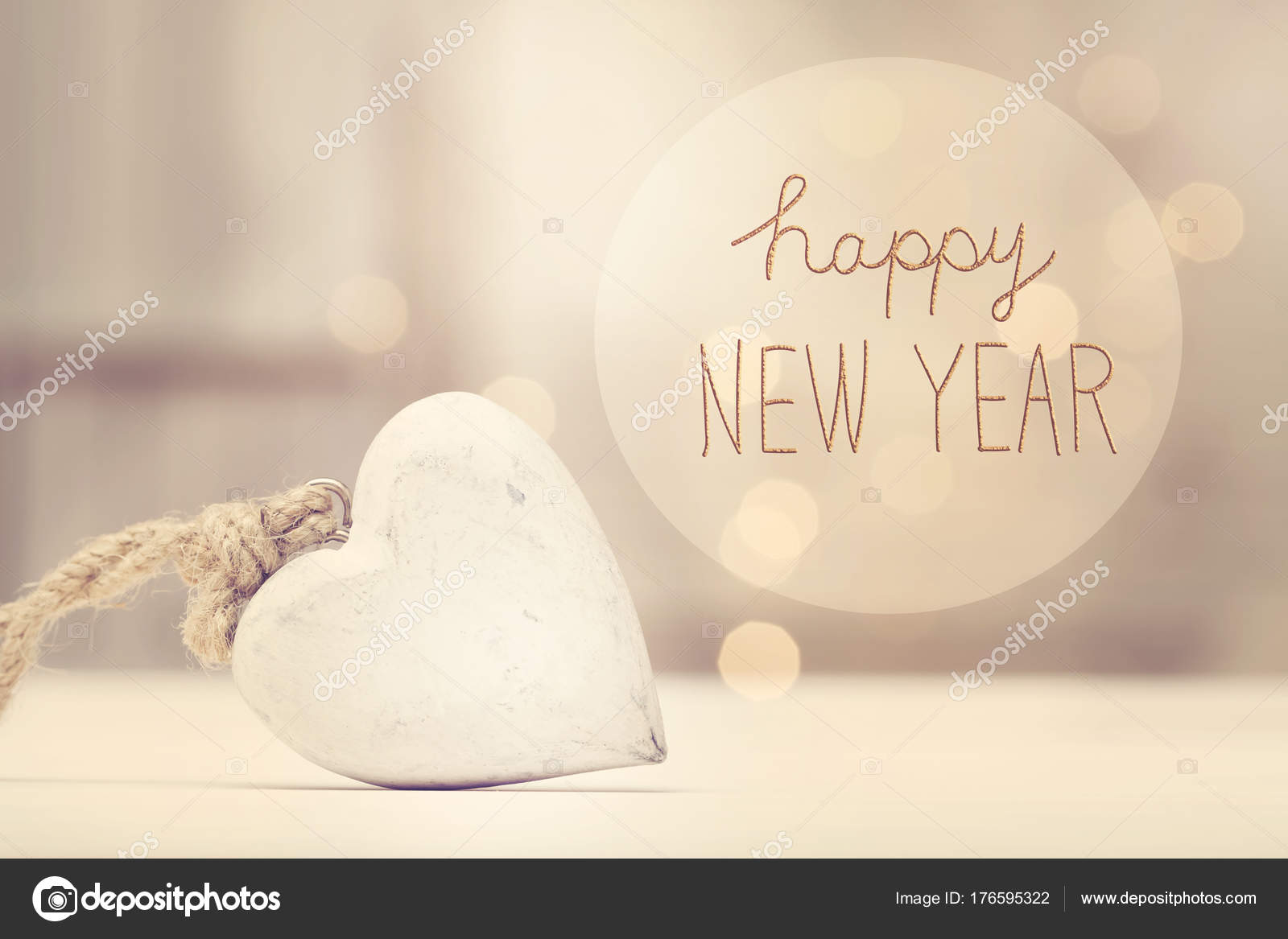 Message Du Nouvel An Avec Un Coeur Blanc Photographie
