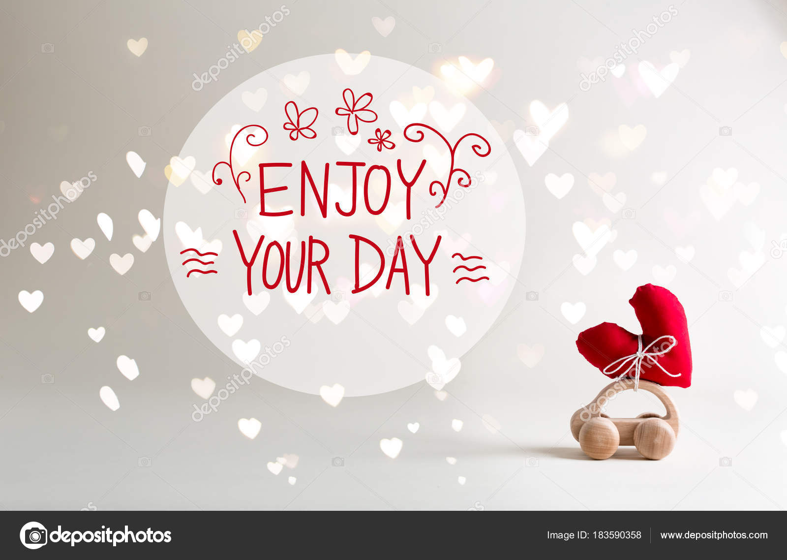 Superb Enjoy Your Day Message With Toy Car Carrying A Heart U2014 Stock Photo