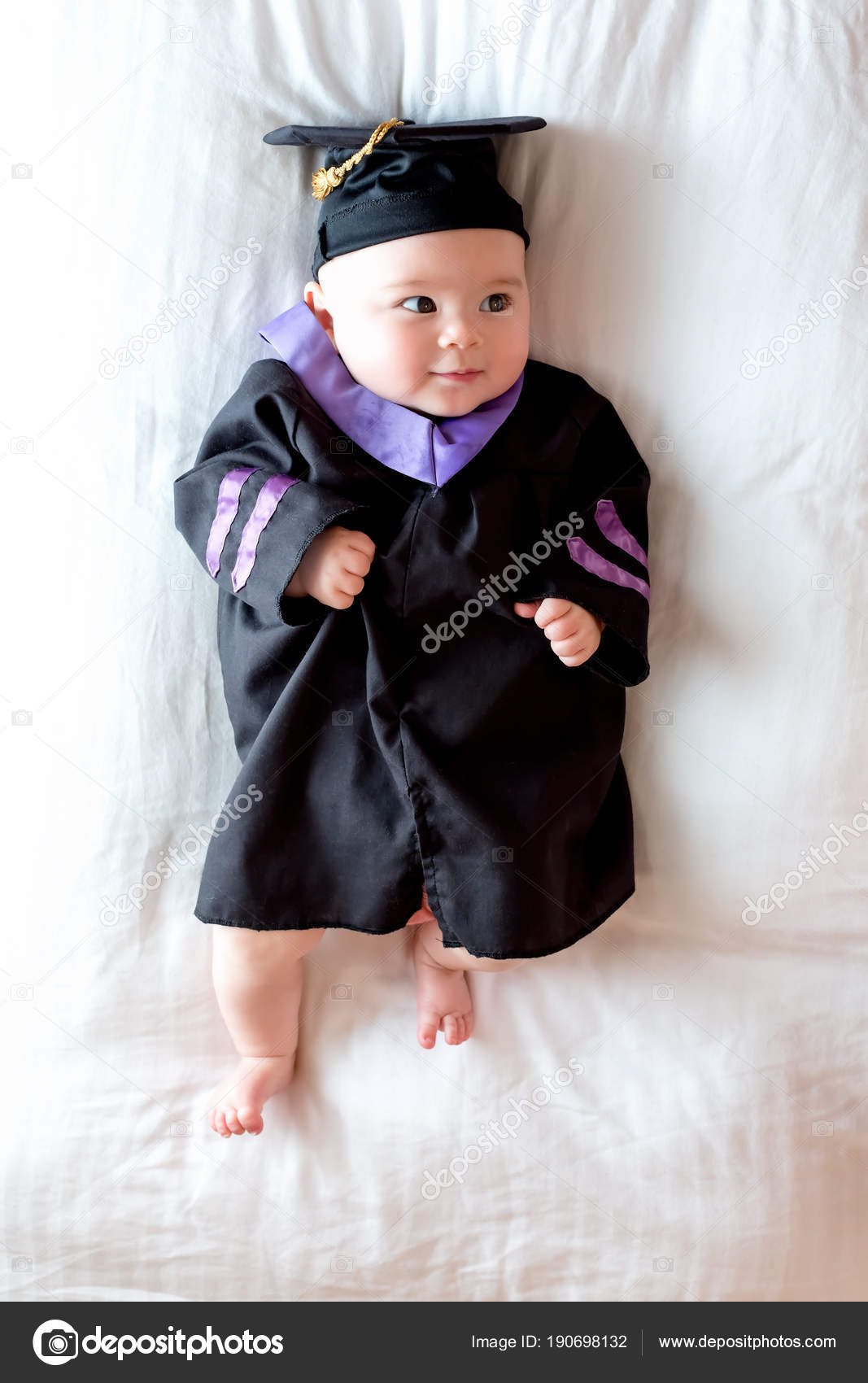 Baby girl in graduation cap and gown — Stock Photo © Melpomene ...