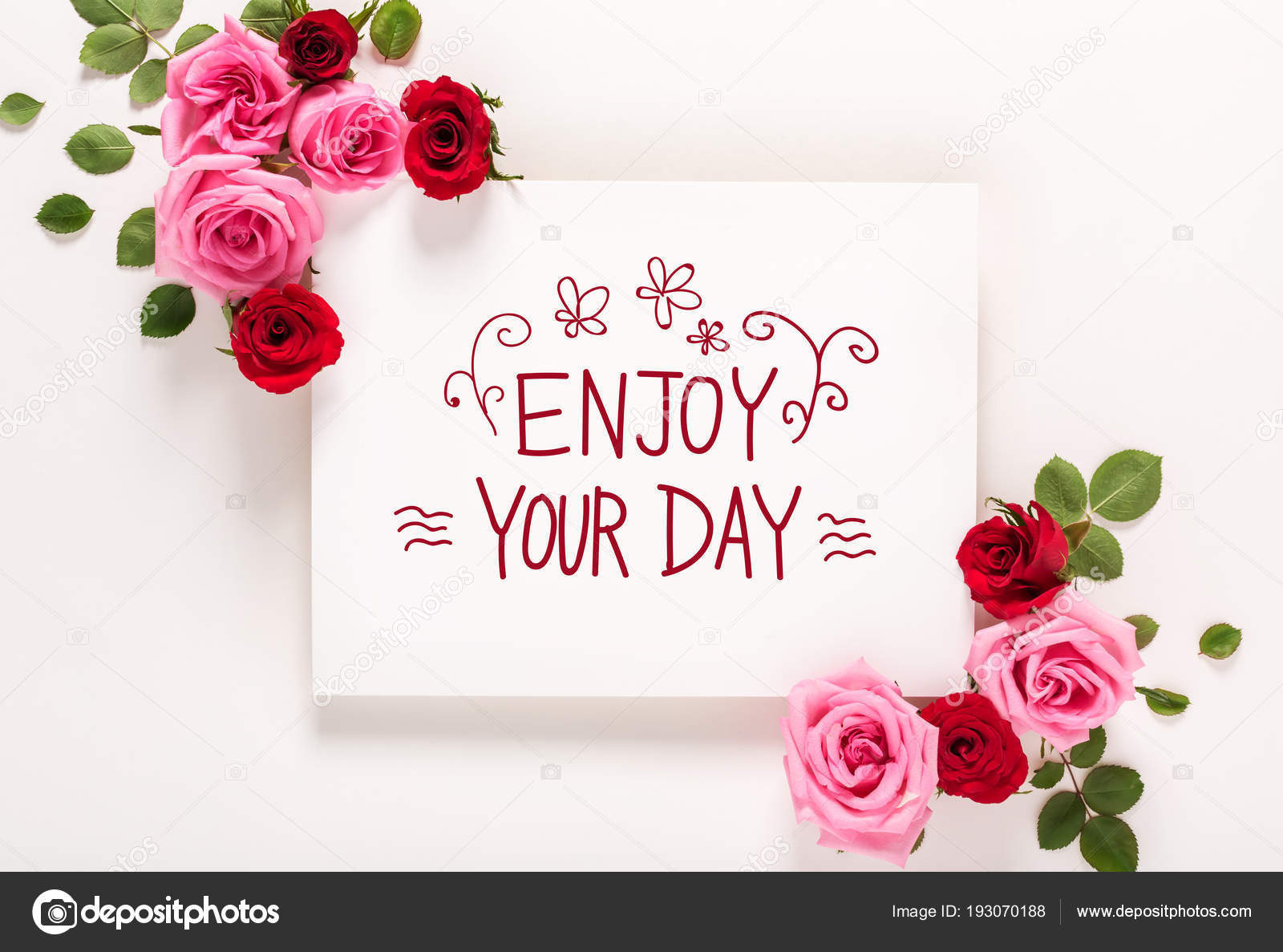 Nice Enjoy Your Day Message With Roses And Leaves U2014 Stock Photo