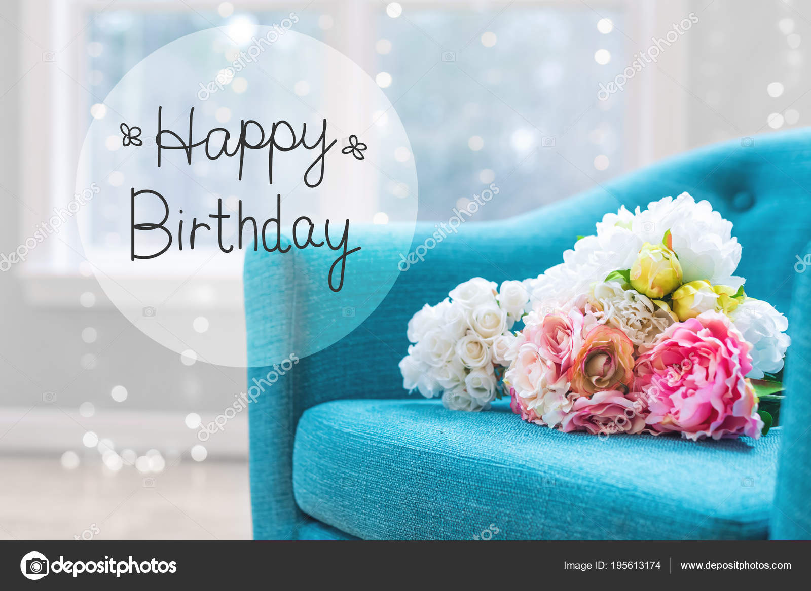 Birthday Message With Flower Bouquets With Chair Stock Photo