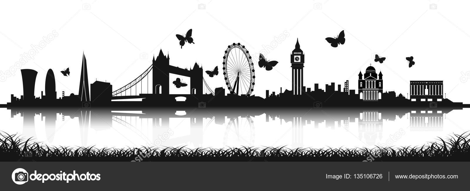 London Skyline Silhouette With Butterfly Stock Vector