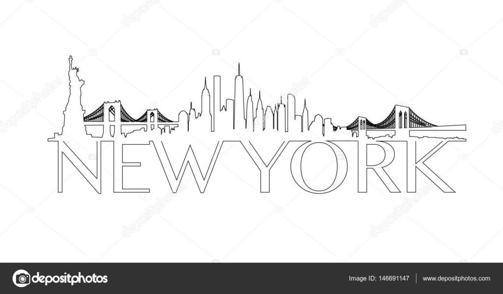 Outline New York City Skyline Vector Stock Vector C Tangducminh