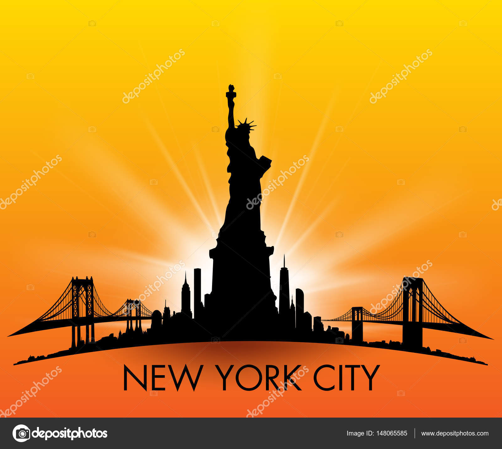 Sunset New York City skyline with Statue of liberty Vector — Stock ...