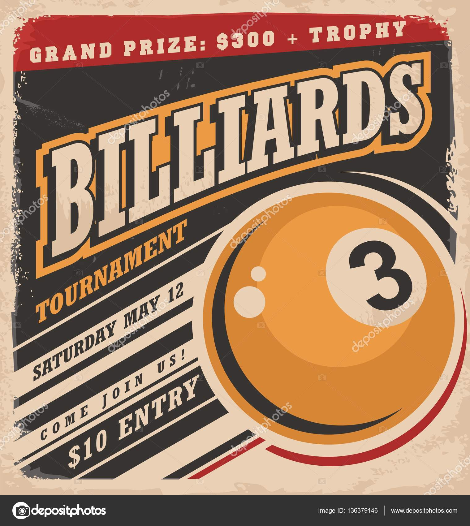 Poster design layout - Billiards Retro Poster Design Layout Stock Vector 136379146