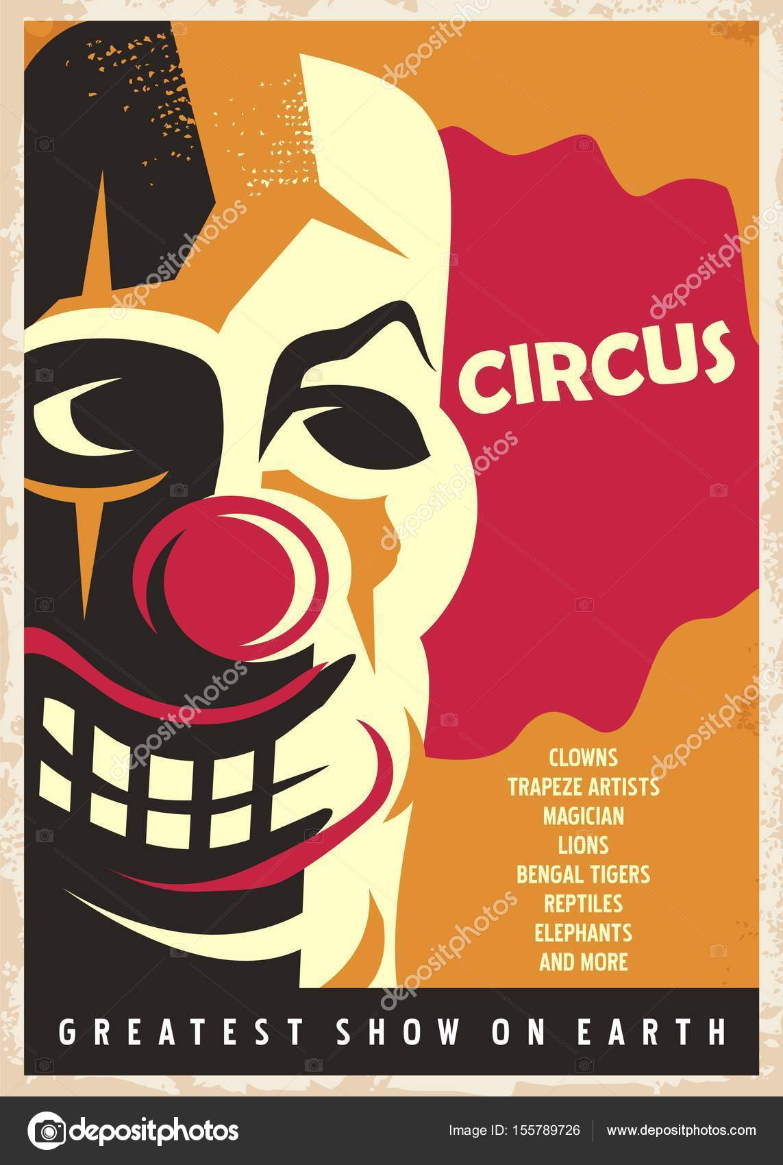 Circus Poster Design Template With Red Nose Clown Portrait On Yellow Background Vintage Style Vector Illustration Old Paper Texture By Lukeruk