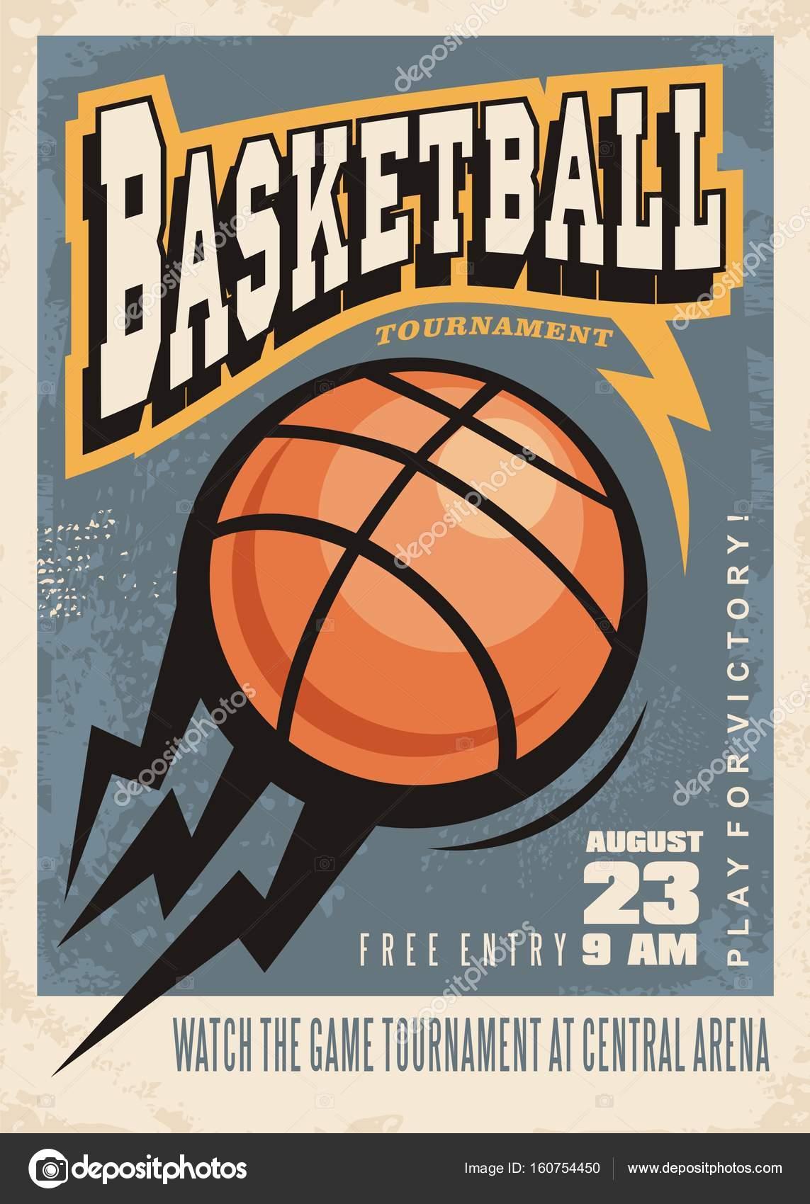 Basketball-Turnier-Retro-Poster-design — Stockvektor © lukeruk ...