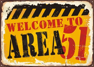 Welcome to area 51 retro road sign concept