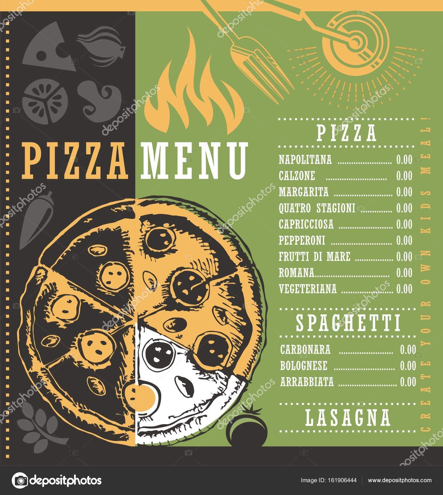 Plantilla de impresión de documento de menú de pizza con dibujo de ...