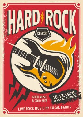 Hard rock event poster design template