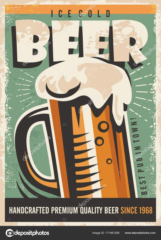 Beer Retro Poster Design With Foamy Glass On Old Paper Texture Pub Advertising Premium Quality Handcrafted Vector By Lukeruk