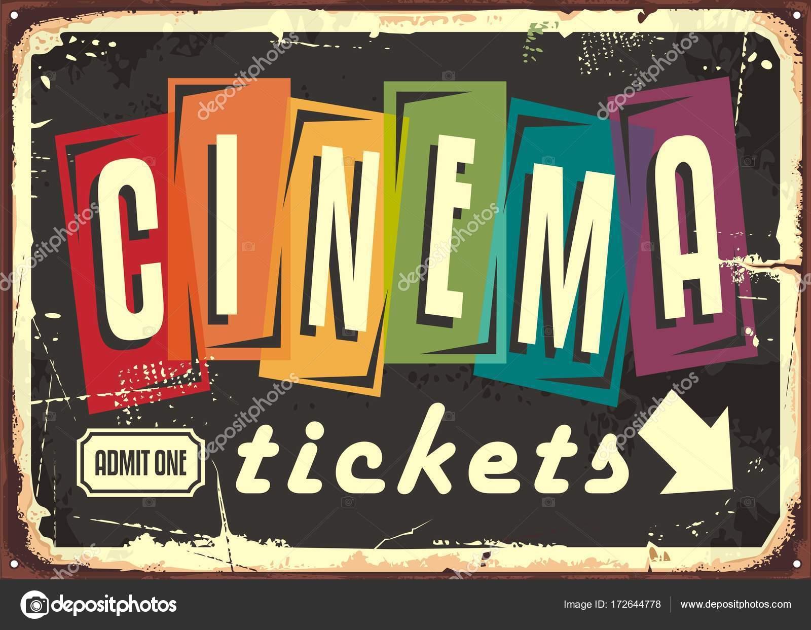 Kino tickets Retro-Schild mit bunten Typografie — Stockvektor ...