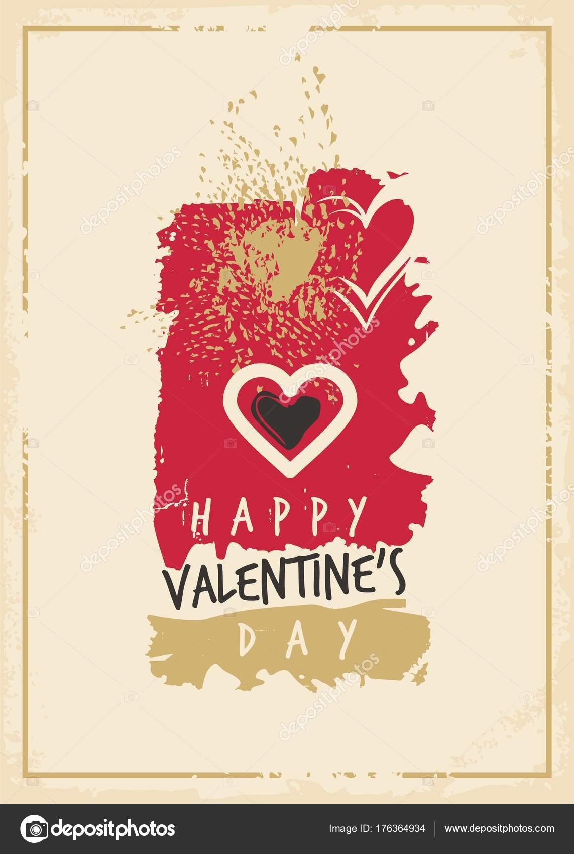Valentinstag Grußkarten Vorlage Künstlerische Malerei Stil ...