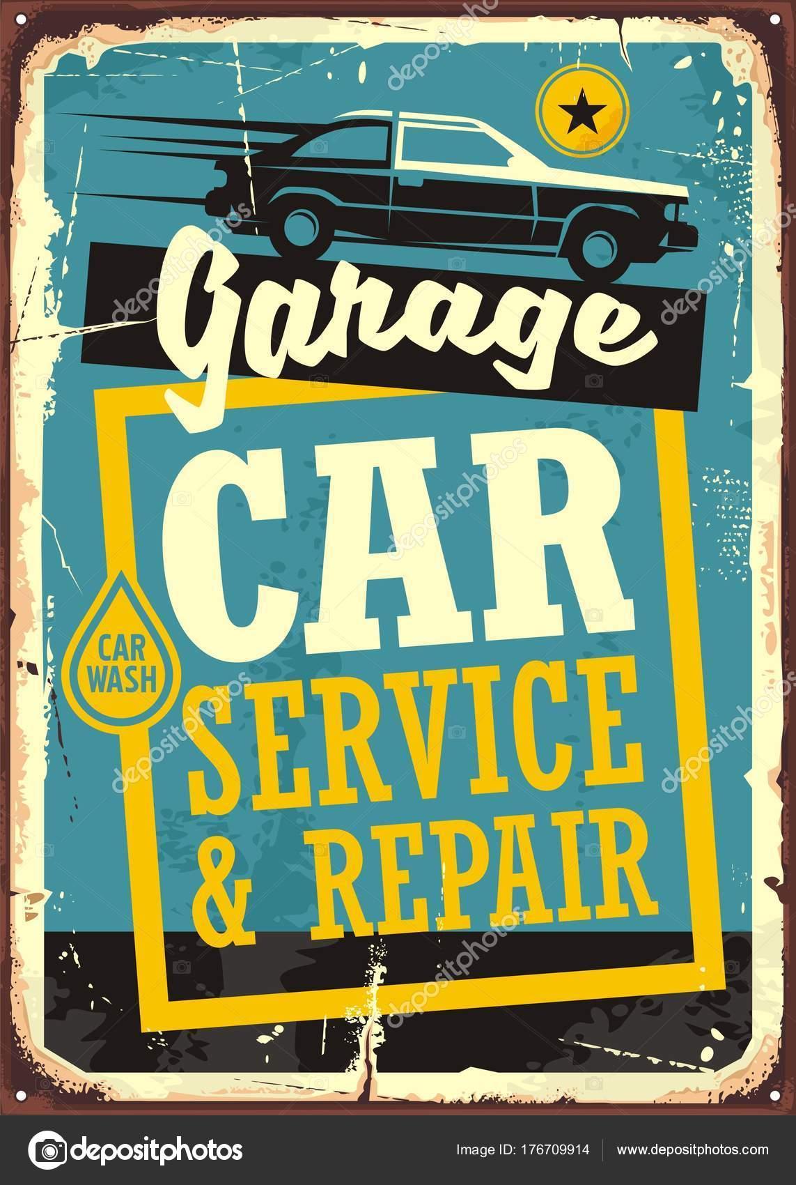 cars garage retro sign template car service repair vintage sign