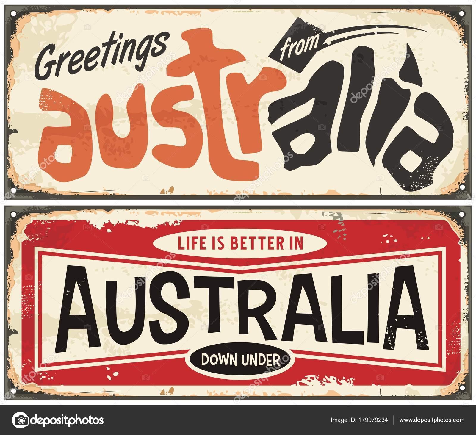 Greetings australia retro sign template life better australia greetings australia retro sign template life better australia vintage souvenir stock vector m4hsunfo