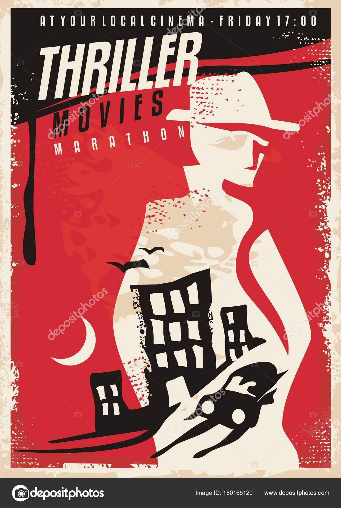 creative poster design thriller movie show cinema poster template