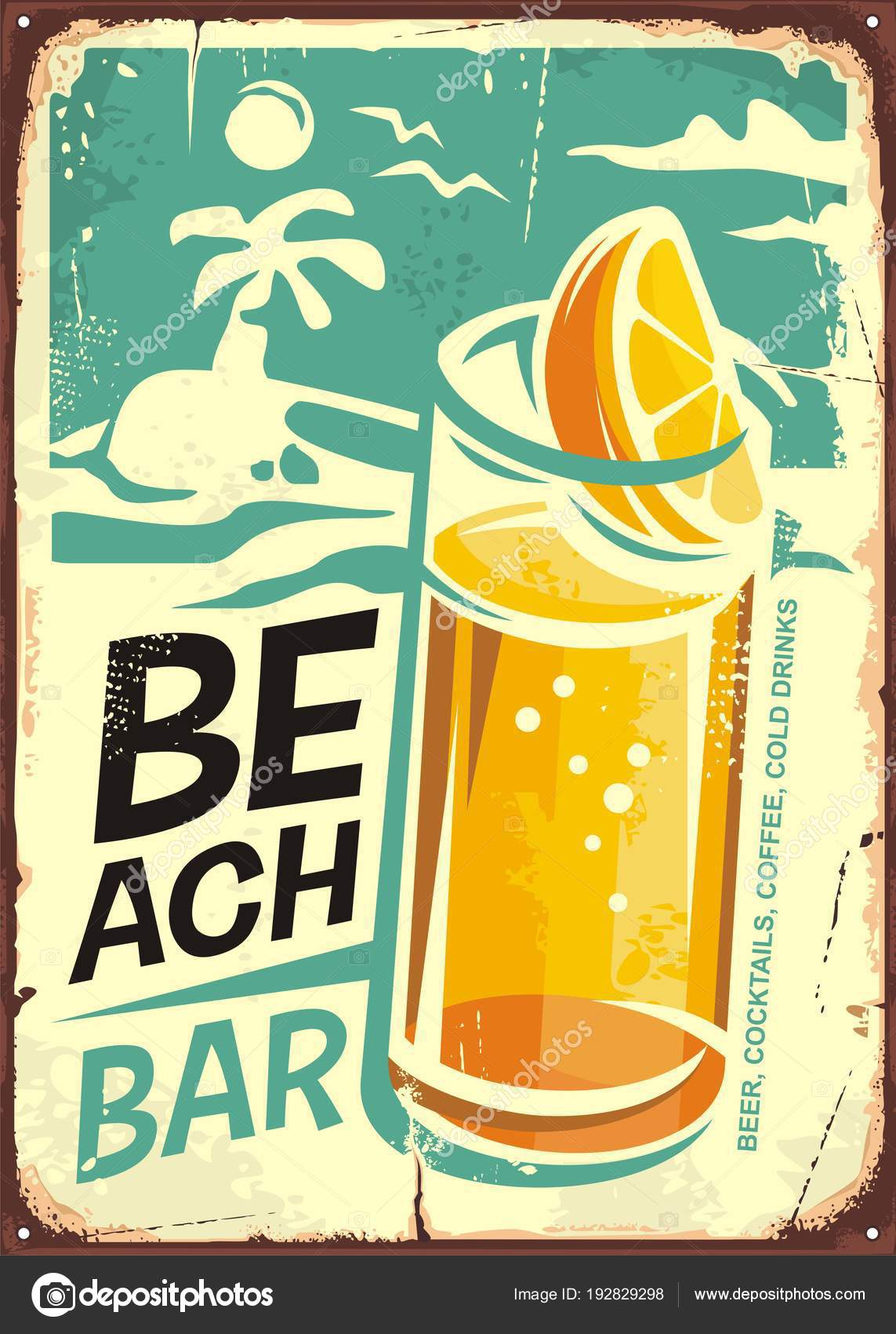 Summer Beach Bar Retro Sign Design Glass Cold Drink Sea