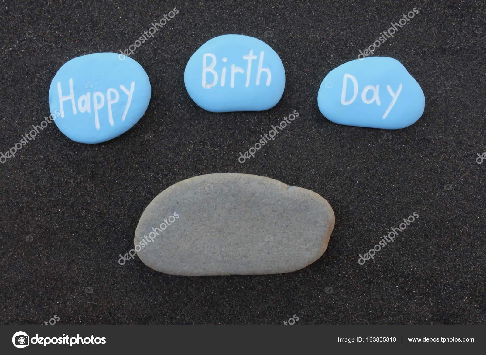 Buon Compleanno Sulle Pietre Con Tuo Nome Foto Stock