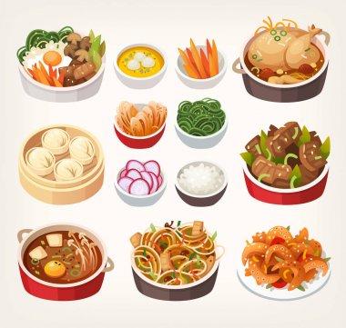 Korean food dishes.