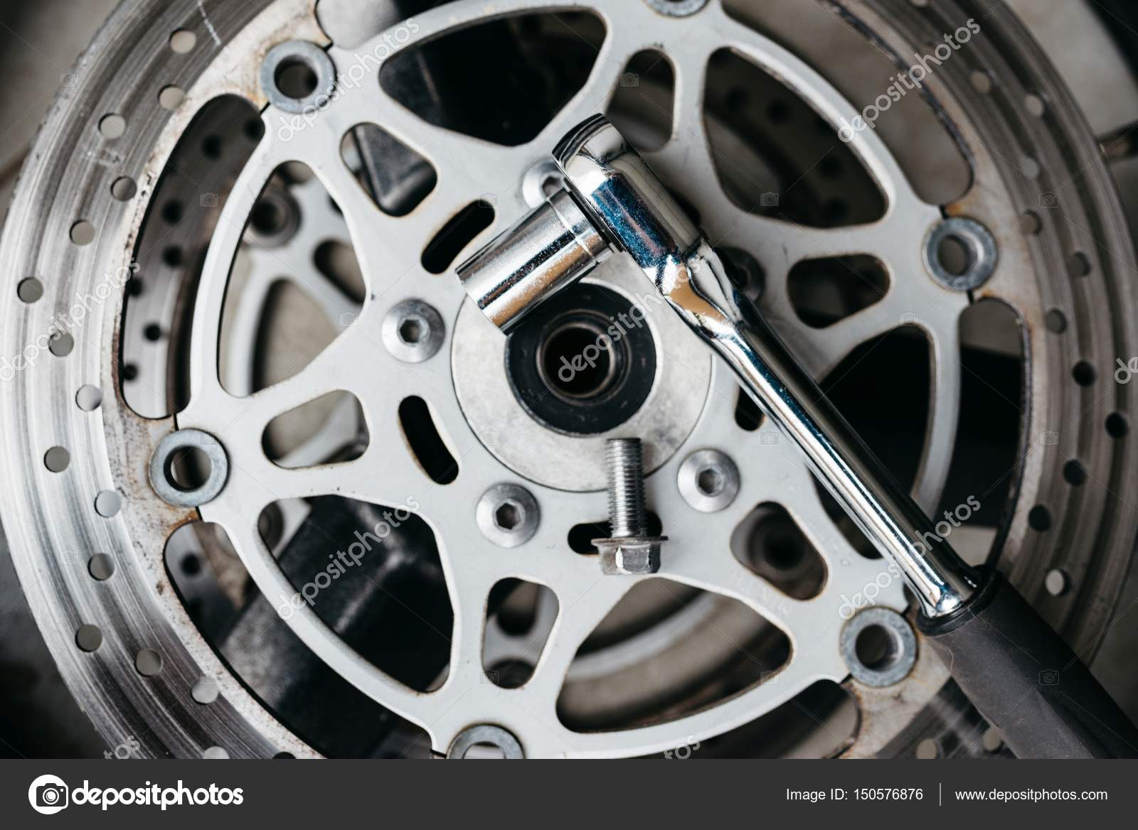 Metal Wrench On Motorcycle Disk Brake Stock Photo Image By C Djedzura 150576876