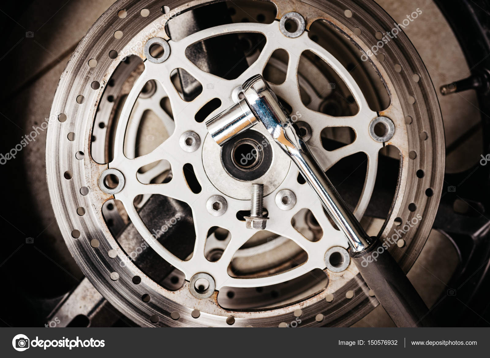 Metal Wrench On Motorcycle Disk Brake Stock Photo C Djedzura 150576932
