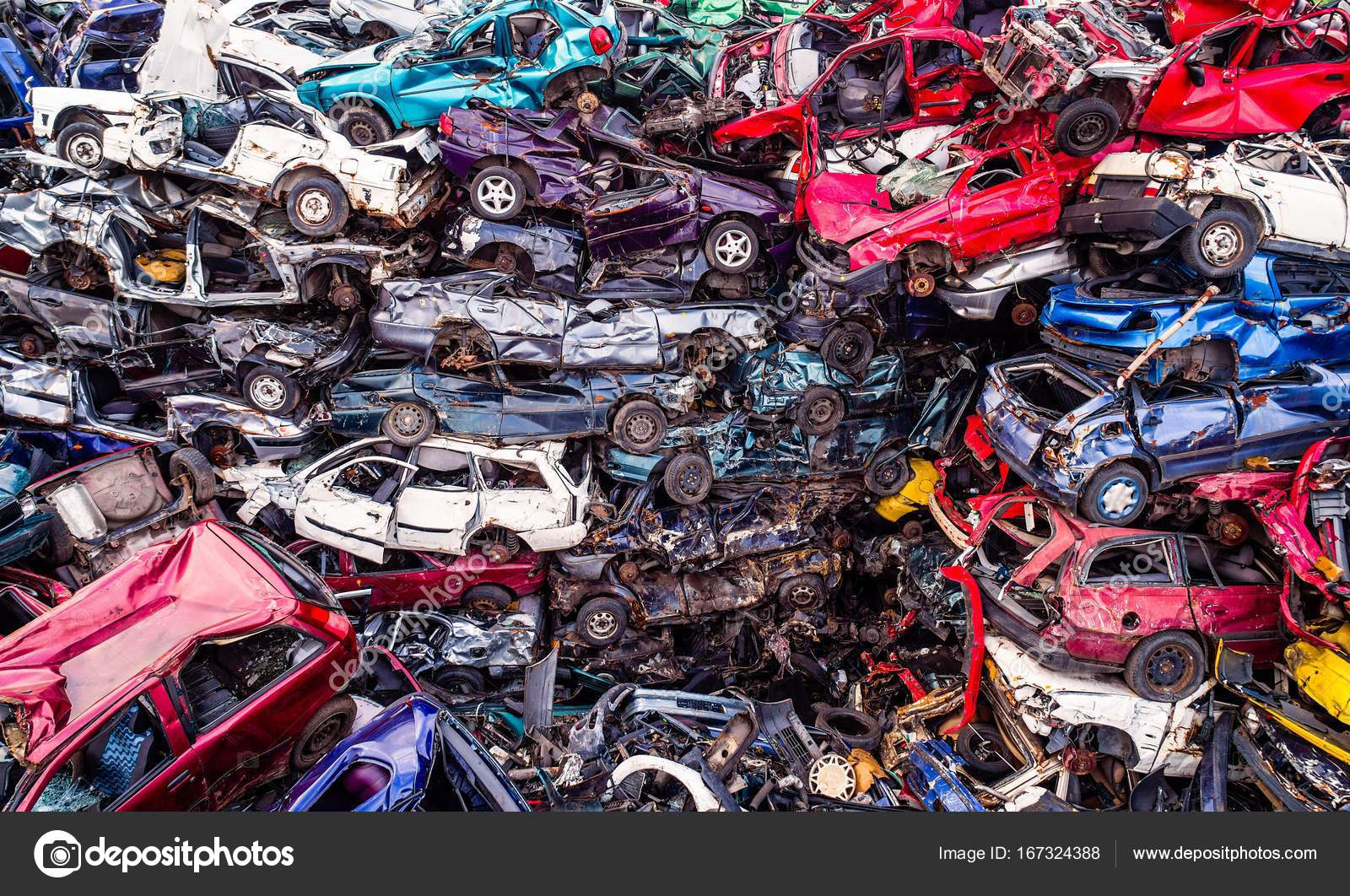 Scrapped cars stacked on a scrap yard. — Stock Photo © djedzura ...