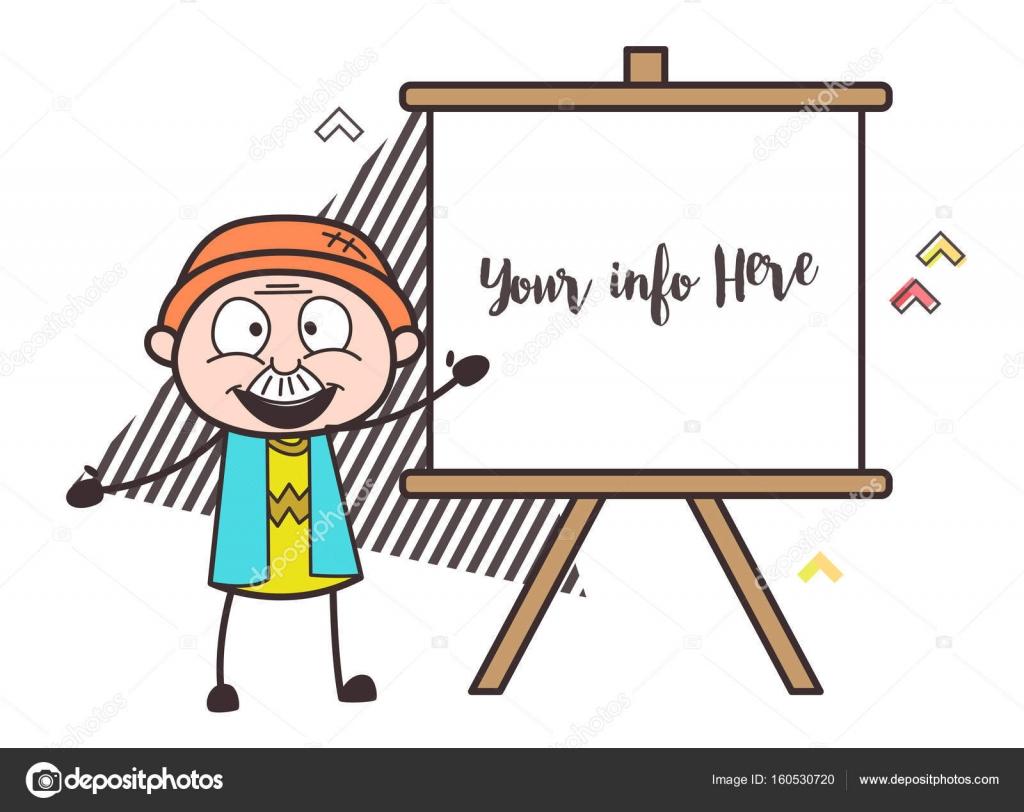 Mutlu Karikatür Tuval Vektör çizim Boyama Ile Dede Stok Vektör