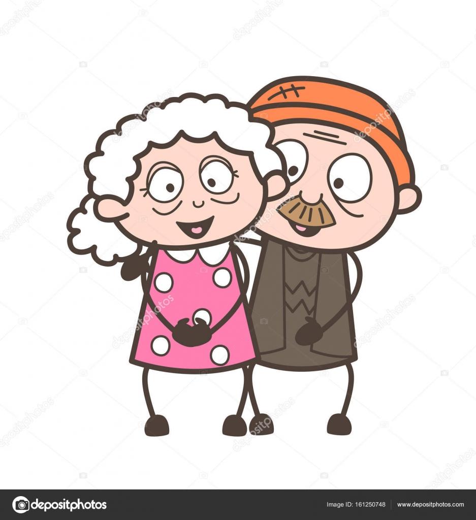 Dessin Animé Vieillesse Amour Couple Personnages Vector