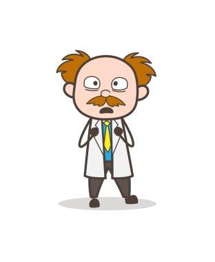 Cartoon Scientist Scared Facial Expression Vector Illustration