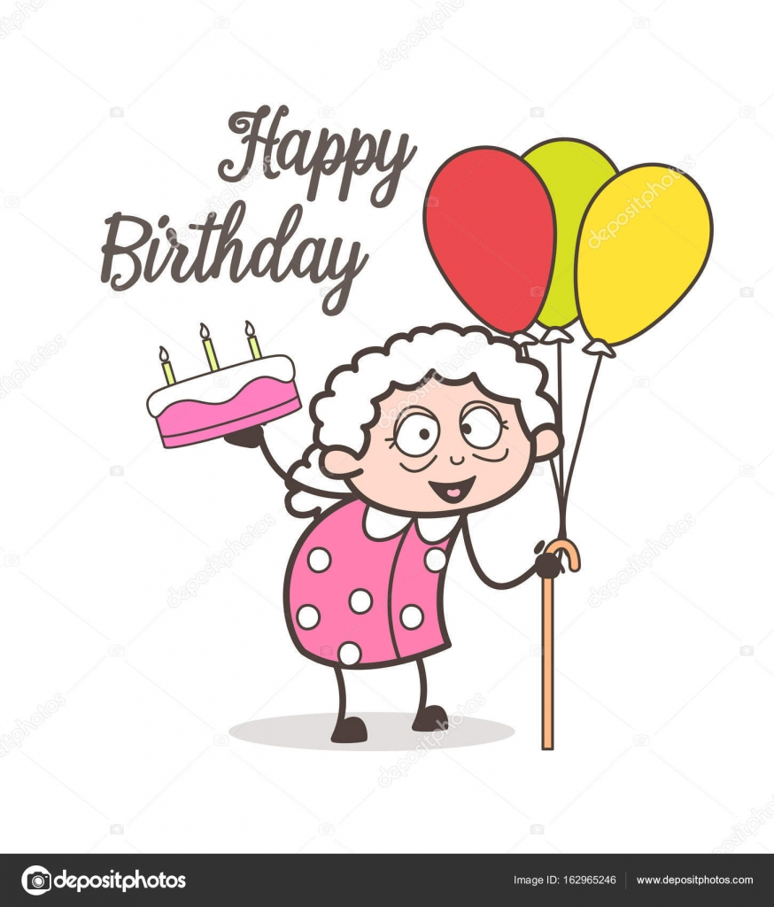 Cartoon Oma Feiert Geburtstag Partei Vektor Illustration