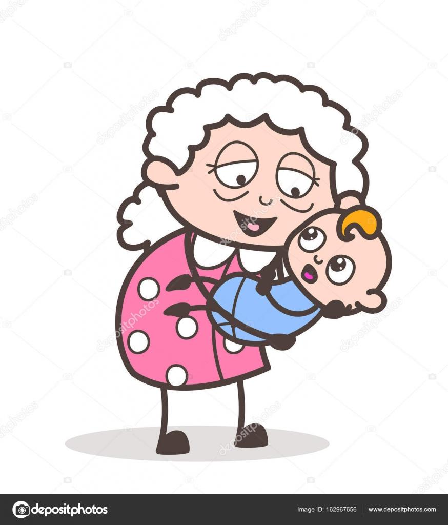 Conhecido Desenhos animados avó levantou um bebê no colo vetor gráfico  LT46