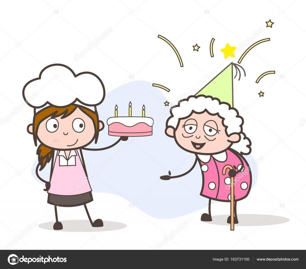 Cartoon Enkelin Chef Oma Geburtstag Mit Torte Vektor Konzept