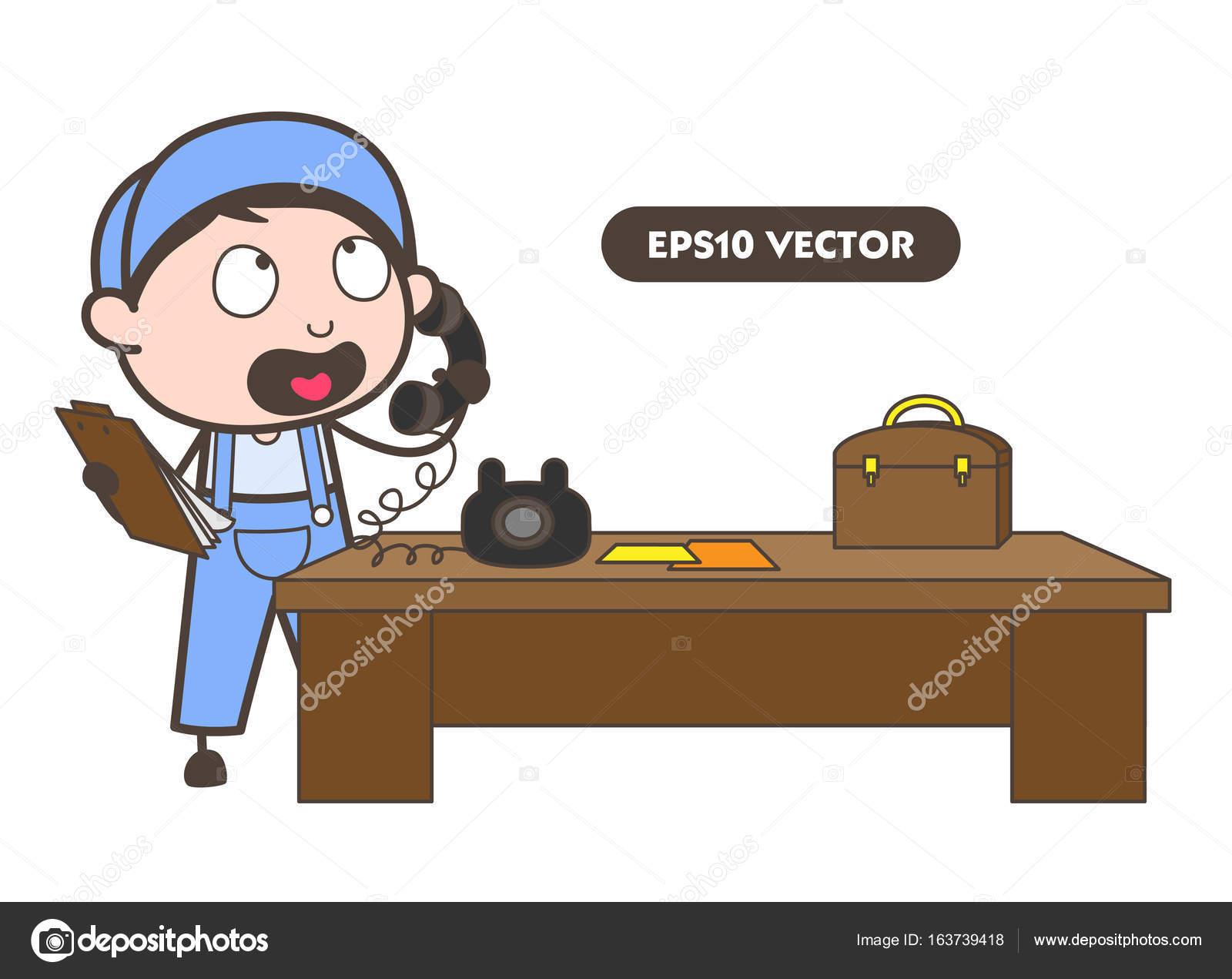 Trabalhador Dos Desenhos Animados, Falando No Telefone