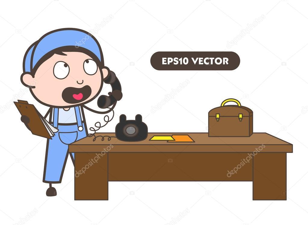 Cartoon-Worker Gespräch Am Telefon-Vektor-Illustration