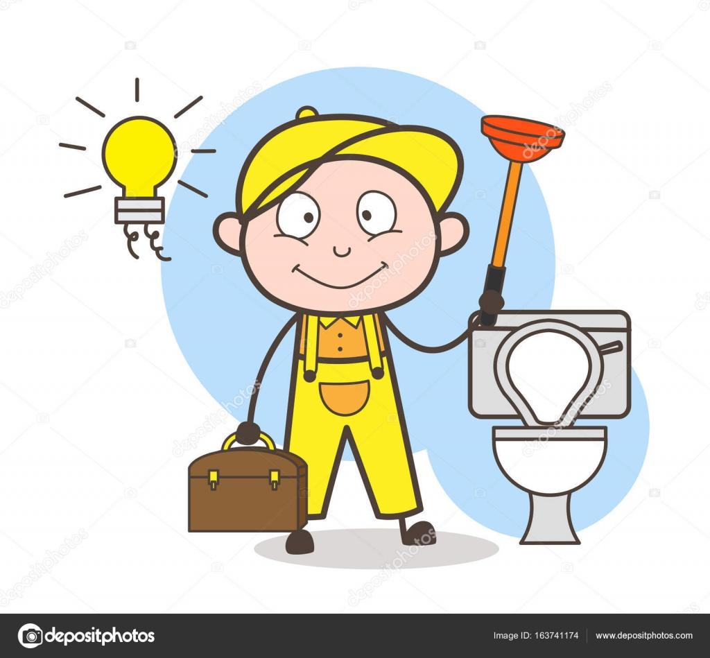 Cartoon loodgieter met zuiger schoonmaak badkamer vectorillustratie ...