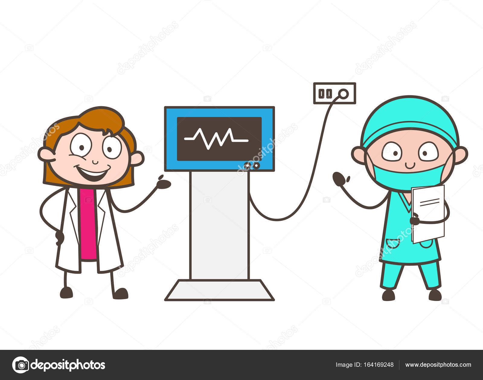 Dibujos animados mujer médico y cardiólogo mostrando el concepto ...