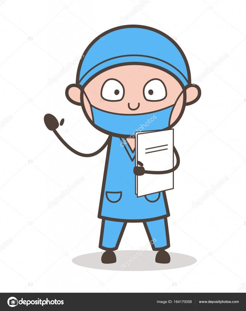 Médico cardiólogo de dibujos animados Holding un Vector de informe ...