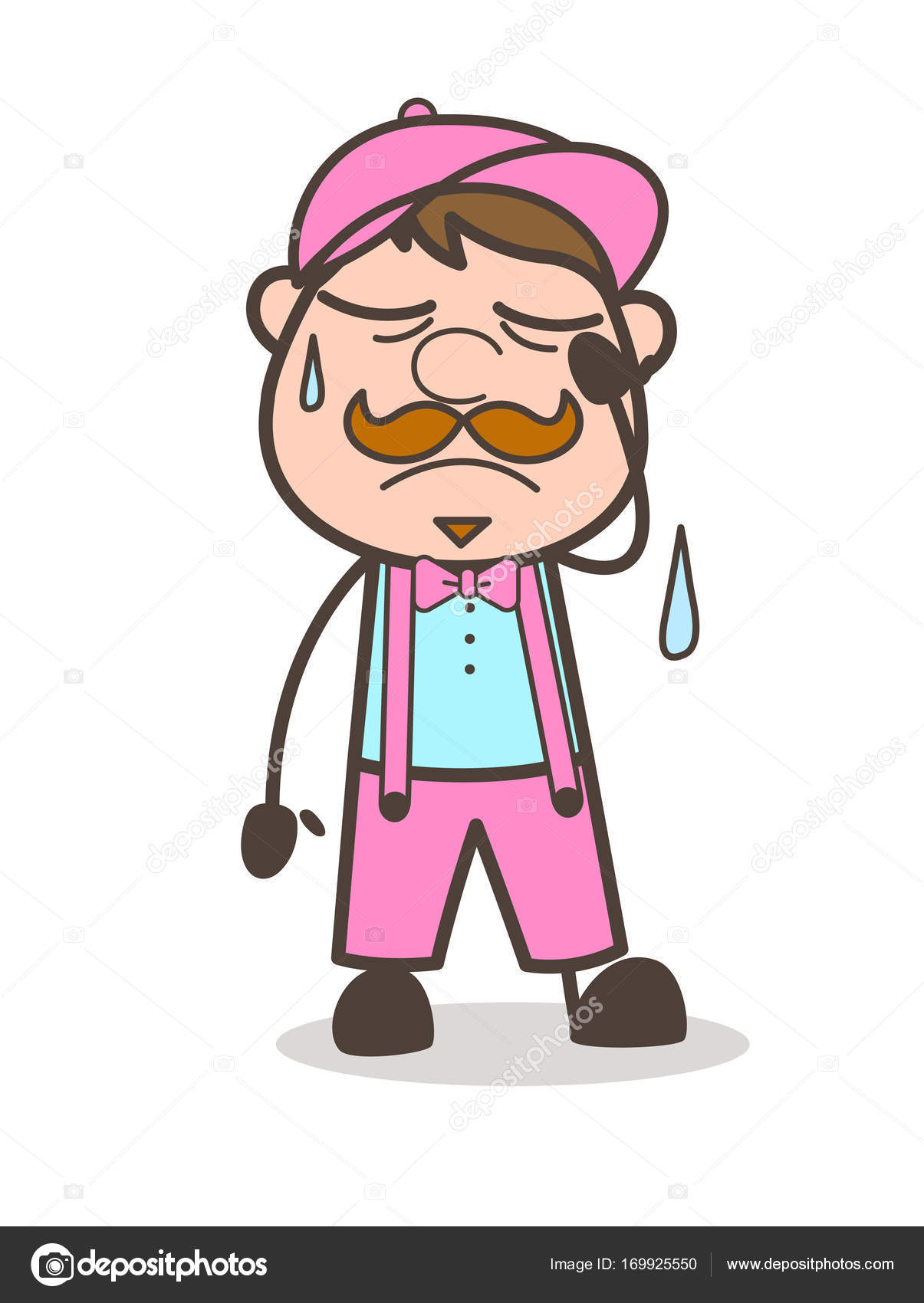 disappointed cartoon worker face expression � stock vector