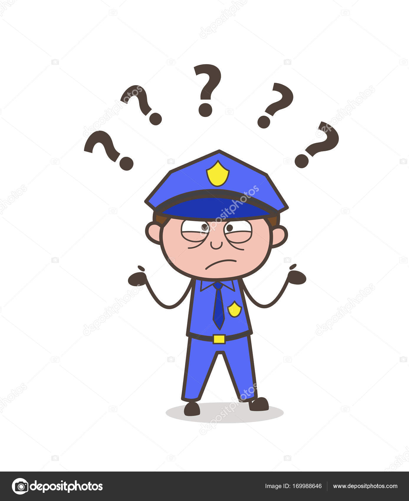 confused police officer face expression vector stock vector