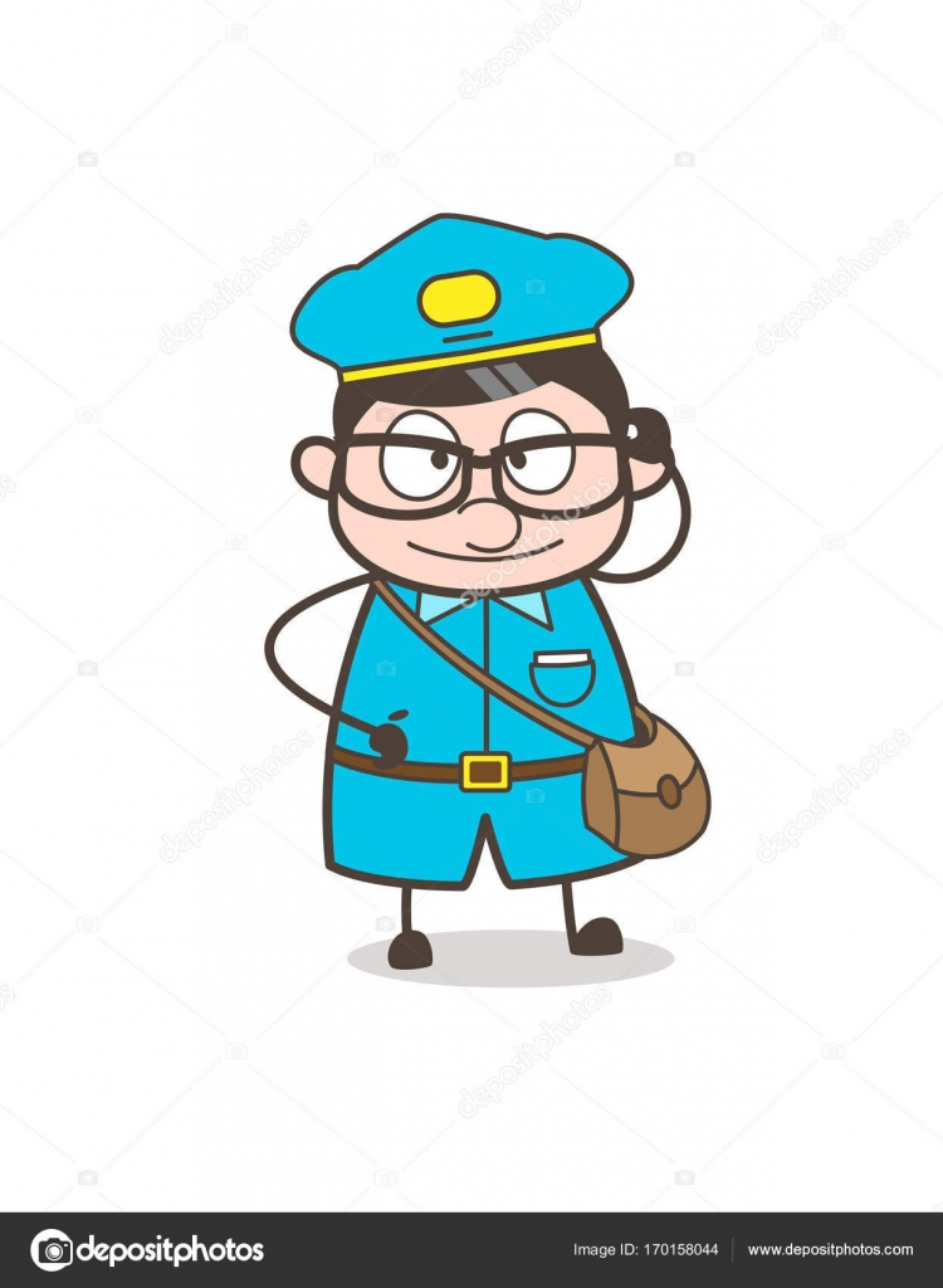 Trabajador Postal divertida con Vector marco de ojos grandes ...