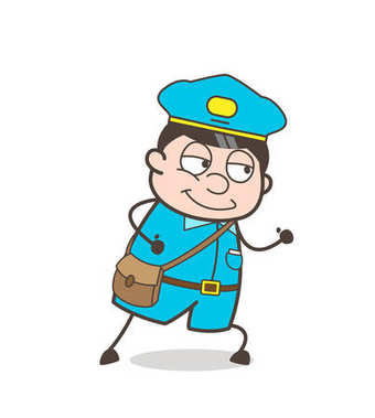 Smiling Postman Running Pose Vector Graphic