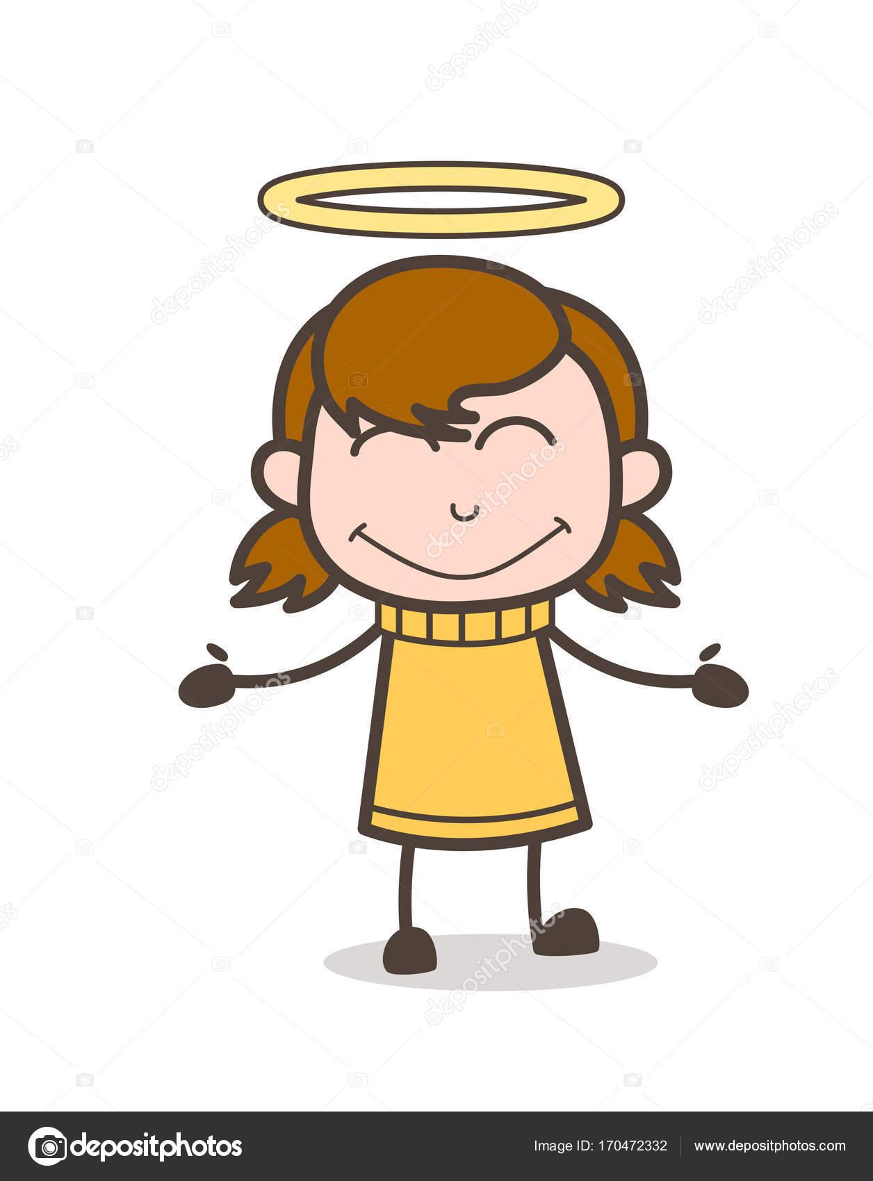 ハロー ベクトル かわいい漫画の女の子イラストと小さな子供の笑顔