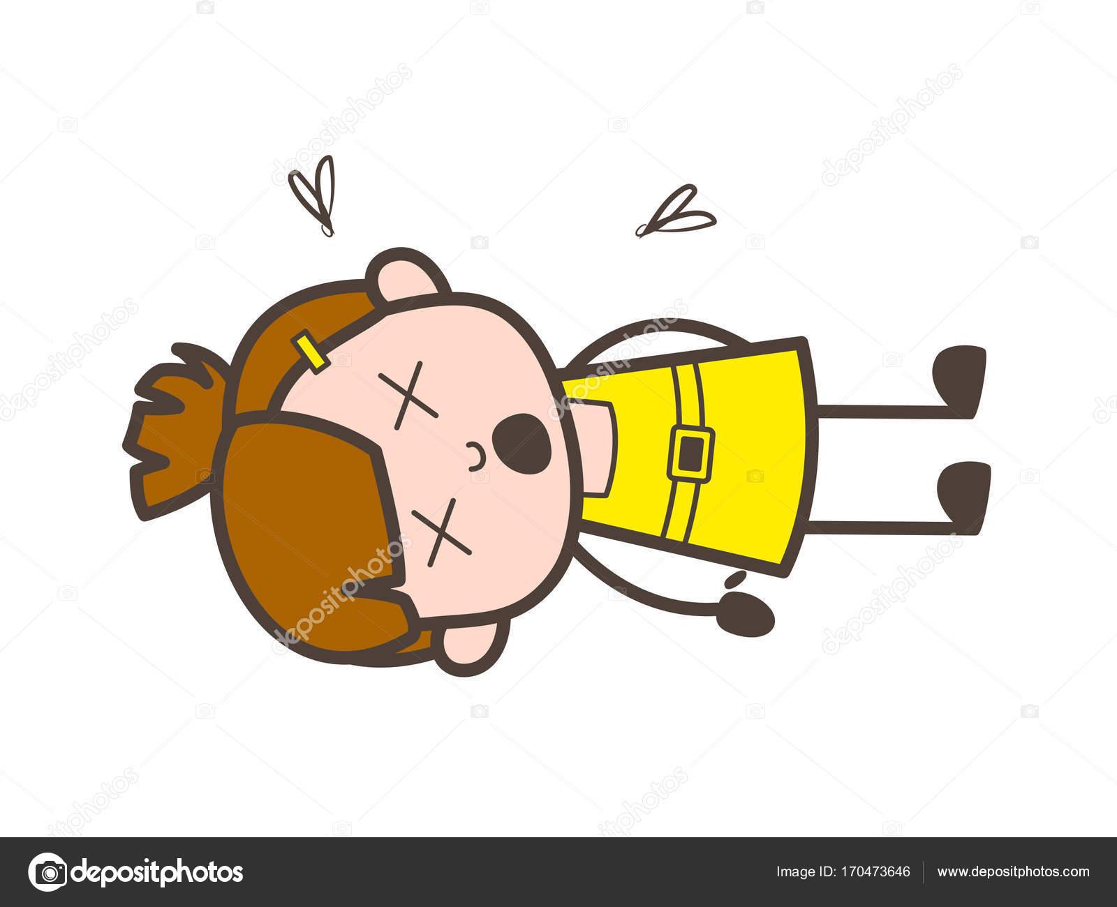 kid dead body cute cartoon girl vector stock vector lineartist rh depositphotos com dead body cartoon pictures dead body outline cartoon