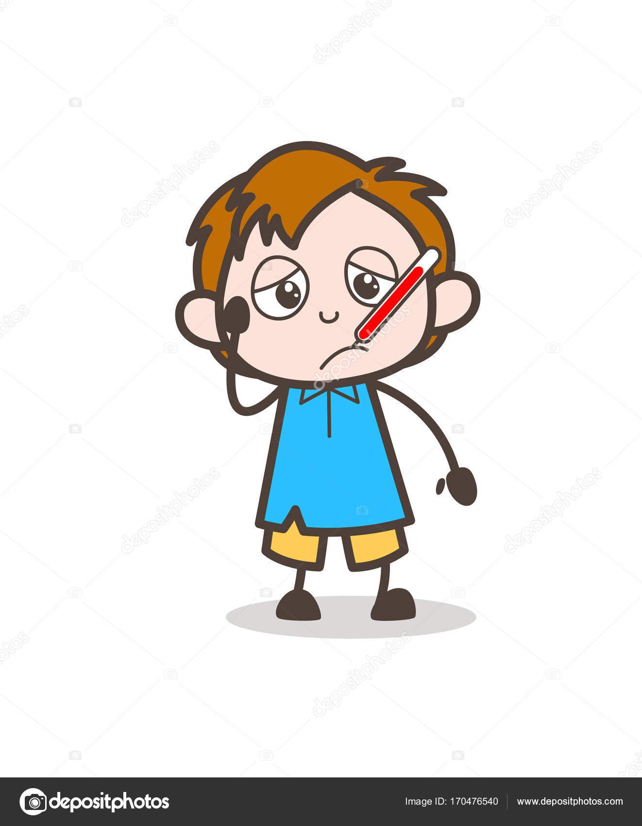 Ragazzo malato con febbre termometro cartone animato