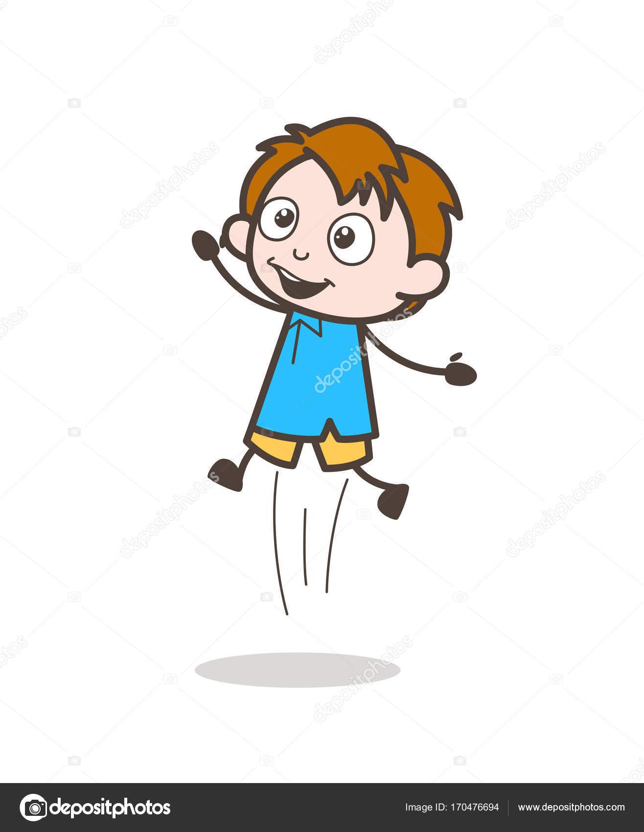 Piccolo bambino che salta in eccitazione cartone animato