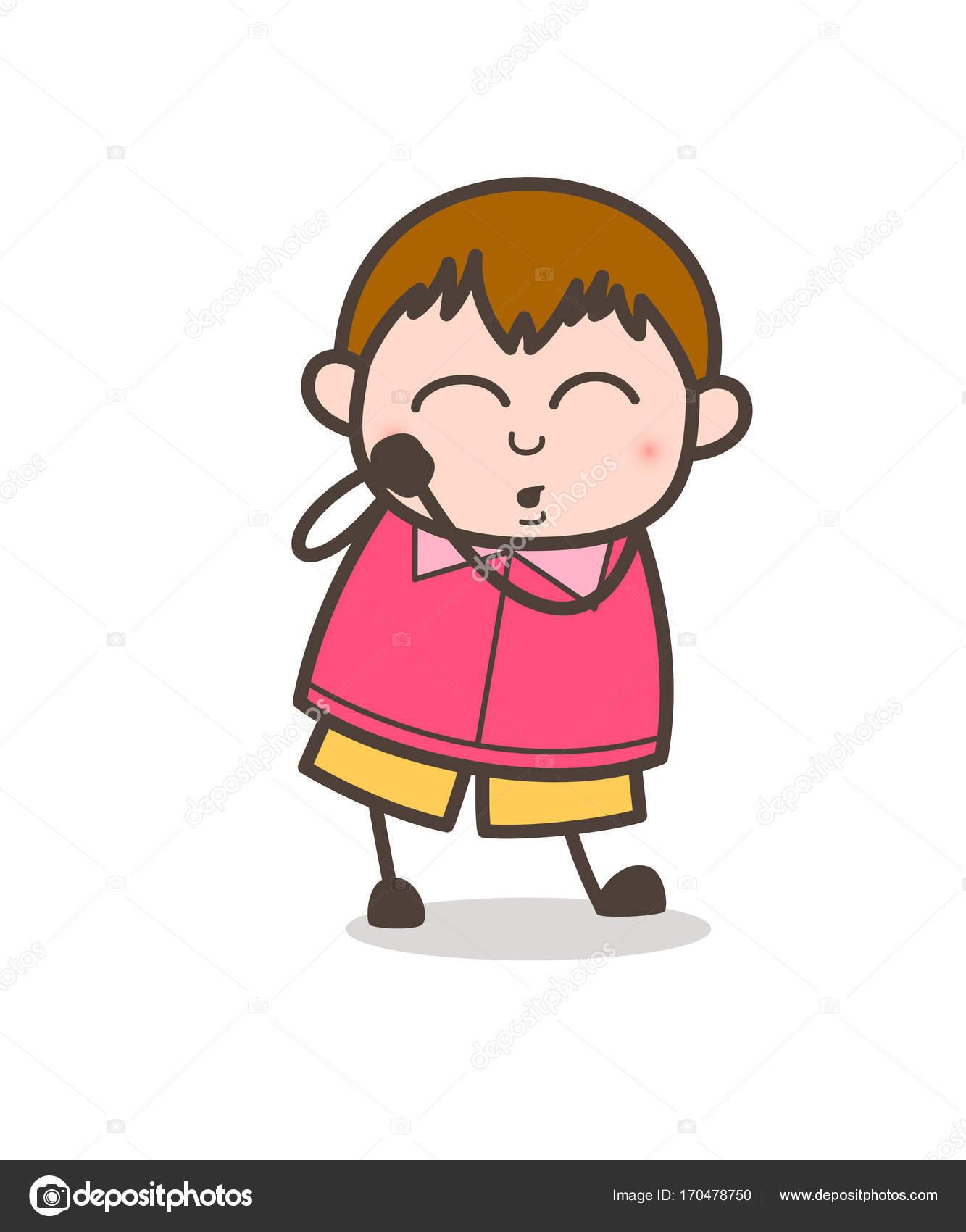 Feeling Lovely Expression - Cute Cartoon Fat Kid