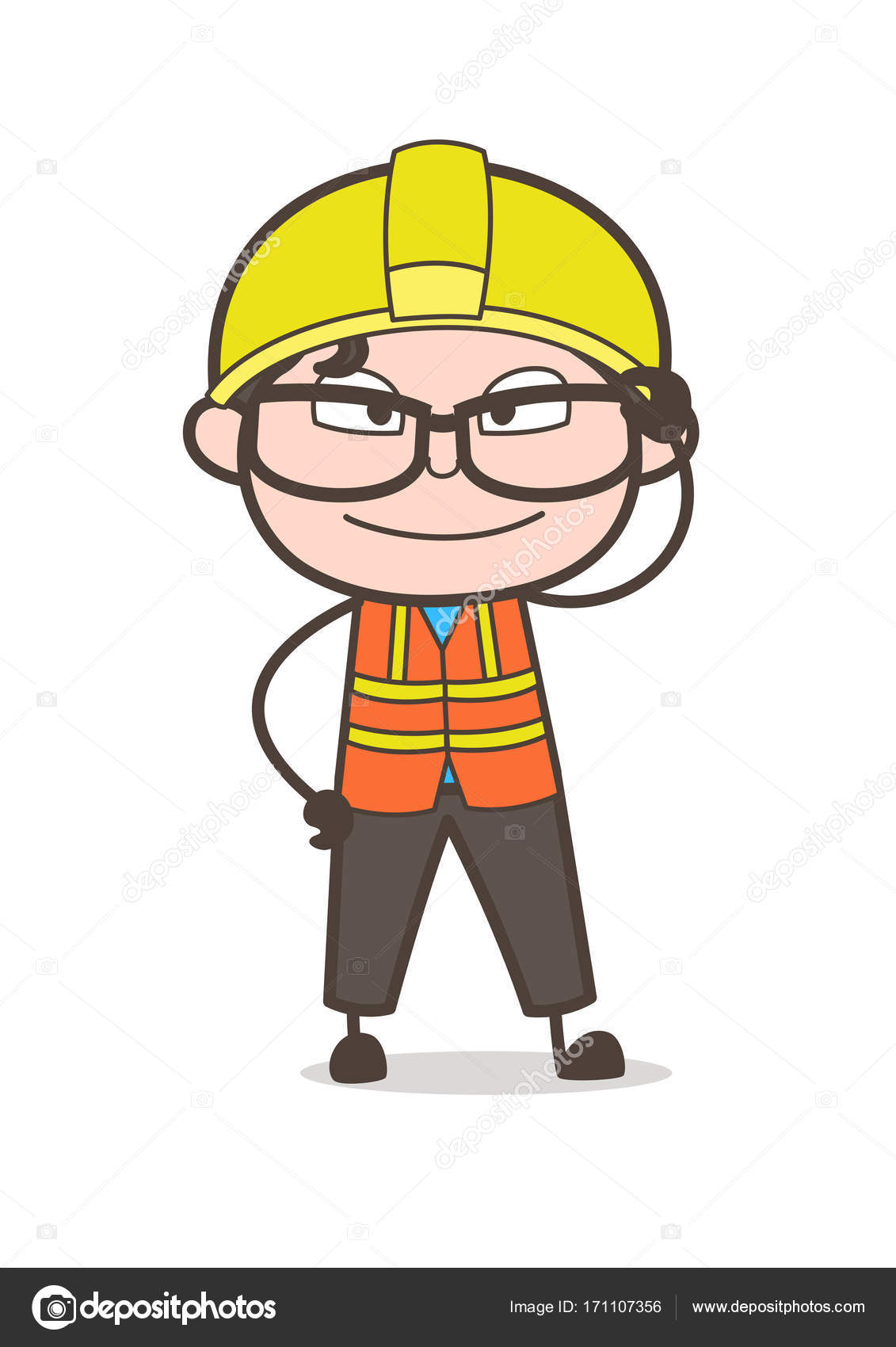 rosto sorridente com olho grande frame ilustração de engenheiro