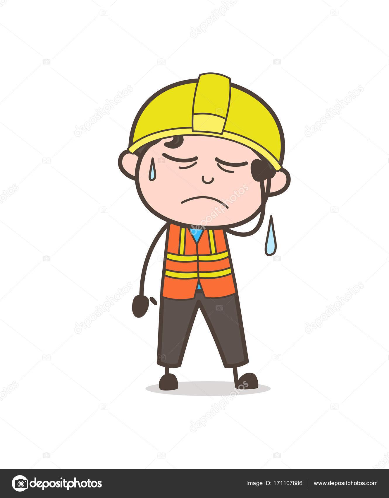 泣き顔かわいい漫画の男性エンジニア実例に失望 — ストックベクター