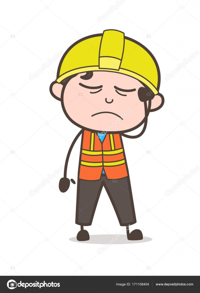 Sick Face Expression - Cute Cartoon Male Engineer Illustration — Stock  Vector e5352229388